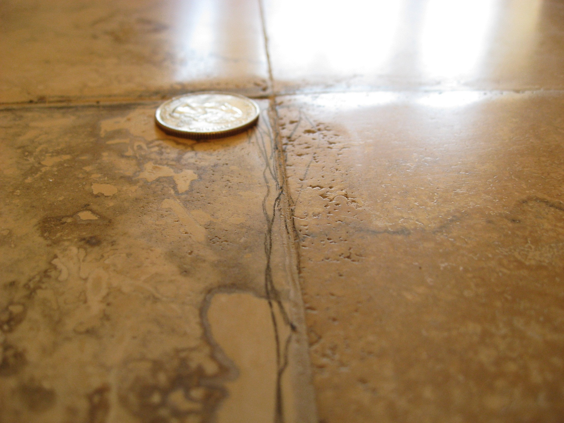 Improper grinding of travertine Dallas